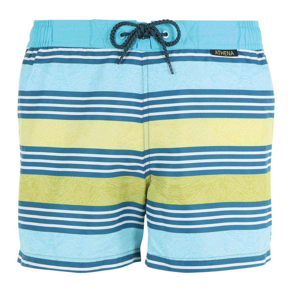Bermuda de bain court homme Sydney Athena. Bermuda de bain homme ATHENA Palmes rayures   Le motif frais et surfwear de ce bermuda de bain homme est in