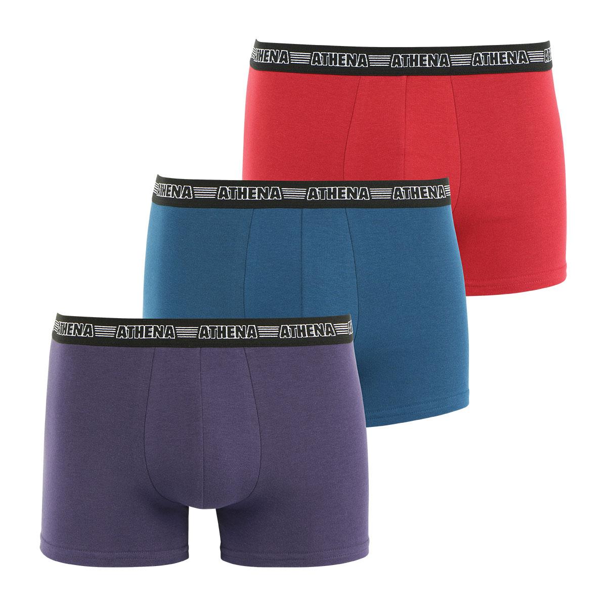 Lot de 3 boxers Basic Stretch homme Athena. Boxers homme X3 ATHENA ECO PACK en coton extensible    Les  boxers  de la gamme ECO PACK ATHENA sont  des