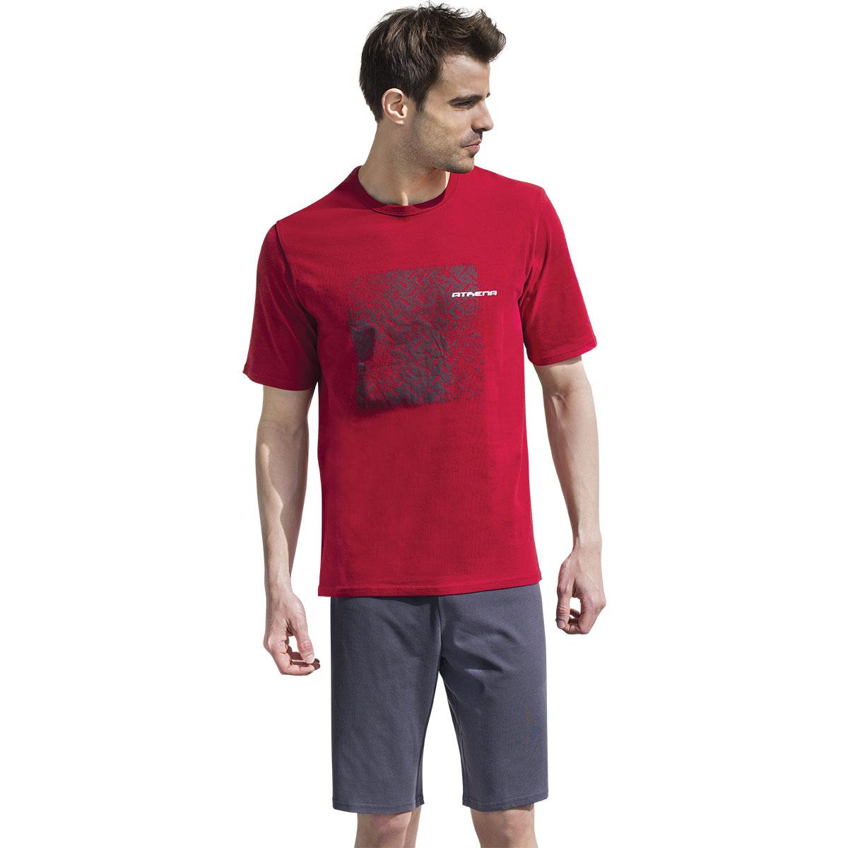 Pyjama homme court Eco Athena. Pyjama homme court col rond ATHENA rouge et anthracite  Ce pyjashort ATHENA est un vêtement d intérieur &a